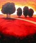 050 - Rood landschap met vier boomgroepen