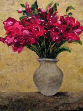088 - Stilleven Bettebloemen in een grijze vaas