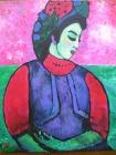 094 - Ingekeerde vrouw met kleurige hoed