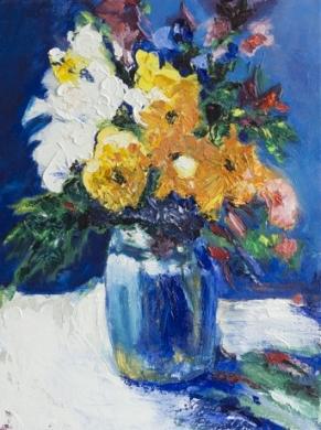 400 - Blauwe vaas met bloemen