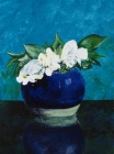 303 - Blauw gemberpotje met witte bloemen