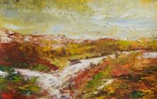 313 - Landschap met gele lucht