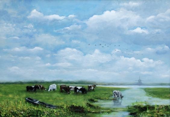 068 - Weids polderlandschap met koeien