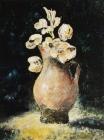 245 - Bruine vaas met bloemen