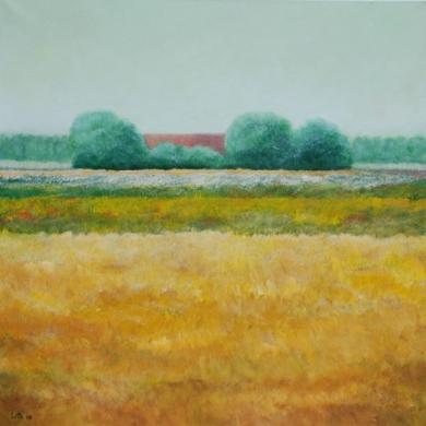 079 - Grijze bomen en boerderijtje