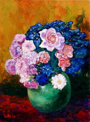 082 - Groene pot met roze bloemen en roos