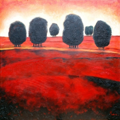 049 - Rood landschap met zes bomengroepen