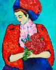 084 - Jonge vrouw met pioenrozen