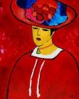 086 - Jonge vrouw met bloemenhoed