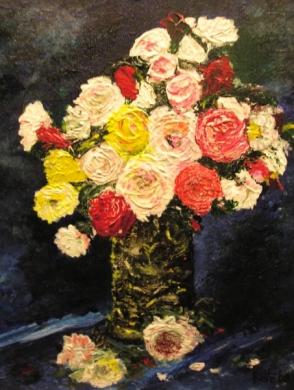 077 - Oude vaas met rozen